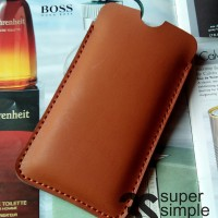 Leather Case Pouch Polytron ZAP 6 Posh 4G501 ( Sarung Celup Hp )
