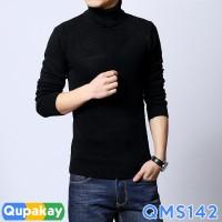 Jual Sweater Pria Turtle Neck Cotton Rajut Halus Kualitas Premium QMS142 Murah
