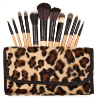 Jual Cosmetic Make Up Brush 12 Set with Leopard Case / Kuas Make Up Murah