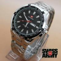 Jam Tangan Swiss Army 3070L Tgl Hari Kw Super Silver Plat Hitam