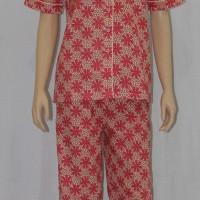 baju tidur wanita motif Lily flower celana panjang krah sabrina