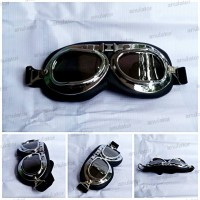Kacamata smoke/hitam/Cakil Pilot Clasic Retro Vespa Aviator Goggle