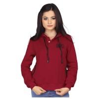 Jaket Kasual Wanita BR RSE026 | Women Casual Jacket | Maroon - Fleece