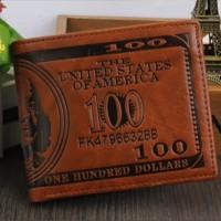 Murah Dompet Kulit Unik Bentuk / Motif Uang 100 Dolar / Dollar Amerika