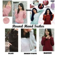 round hand secker sweater rajut (atasan,bluse,top,sweater knitting )