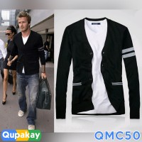 Cardigan Pria David Beckham Cotton Rajut Halus Kualitas Premium QMC50