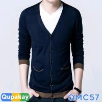 Cardigan Pria Cotton Rajut Halus Kualitas Premium QMC57