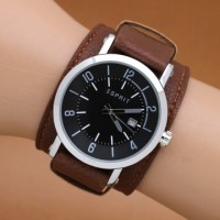 Jam Tangan Pria / Cowok Esprit Casual Leather Brown Silver