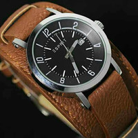 Jam Tangan Pria / Cowok Esprit Casual Leather Brown Black