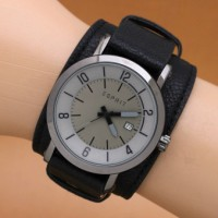 Jam Tangan Pria / Cowok Esprit Casual Leather Full Black