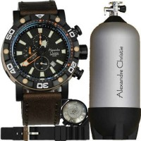 Alexandre Christie AC 6413 Diver Black - Dark Brown Leather
