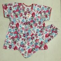 Baju Tidur Full Kancing Motif Bunga / Baju Menyusui