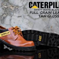 SEPATU CATERPILLAR SAFETY FULL GRAIN LEATHER TAN GLOSSY