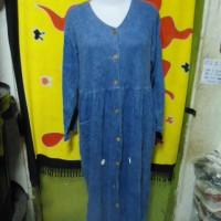 D53-13 - Gamis Muslim lengan panjang jeans biru Kancing depan big size