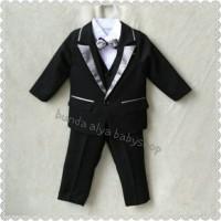 6-7 8-9 10 TAHUN tuxedo jas anak 5IN1 list abu premium+tas jas+hanger