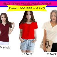 Kaos Wanita Basic Shirt VNeck,ONeck, OVNeck !! 100.000 = 4PCS