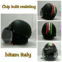 Helm Chip Bogo Retro Kulit Klasik Hitam Kombinasi Bendera Itali