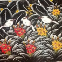 harga Lukisan  Burung Jalak Putih Background Hitam dan Bunga Merah Tokopedia.com
