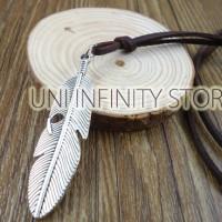 JWNE0112 Kalung Kulit Pria Wanita (Feather Leather Necklace)