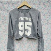 Sweater Crop iKON Yunhyeong Lengan Panjang Kaos Tshirt Korea Kpop