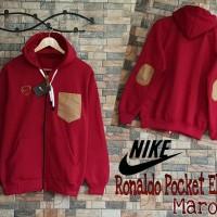 Jaket Pria Nike Ronaldo Pocket Elbow Maroon ( jas / sweater )