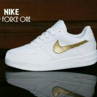 Sepatu NIKE AIR FORCE ONE PUTIH LIST GOLD / WANITA SPORT