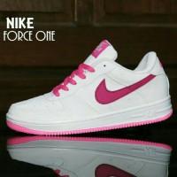 Sepatu NIKE AIR FORCE ONE PUTIH PINK / Casual Wanita