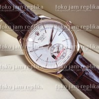 Jam Tangan Rolex Cellini Dual Time Everose Gold Brown