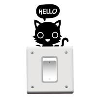 Jual Stiker Dekorasi Saklar Lampu Motif Kucing Hello Lucu Decal Wall Sticke Murah
