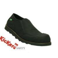 sepatu semi boot kickers slop safety hitam full black