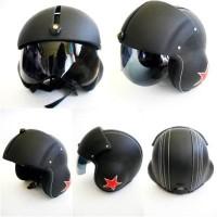 harga Helm Pilot Berkaca Black Solid Red Stars (CB, Vesba, Matic, c70) Tokopedia.com
