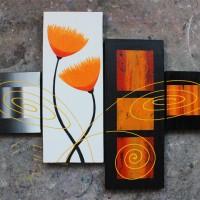 Lukisan Bunga Minimalis Mini Orange