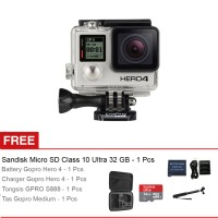 GoPro Hero 4 Silver Edition + Gratis Sandisk Micro SD - 32GB + Tongsis