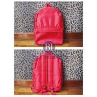 Tas Ransel Backpack Kanvas Canvas Sekolah Travel 25 x 30 cm Merah