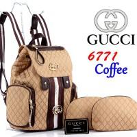 Tas Ransel Import Gucci Kanvas Canvas 6771 Set Pouch 3in1 Super Coffee