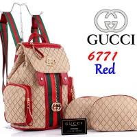 Tas Ransel Gucci Kanvas Canvas 6771 Paket Pouch 3in1 Super Merah / Red