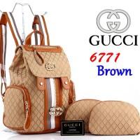 Tas Ransel Gucci Kanvas Canvas 6771 Set Pouch 3in1 Super Coklat Brown