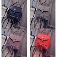 tas ransel wanita korea ungu merah abu import