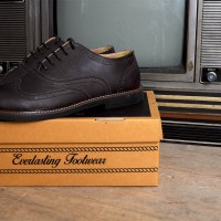 Sepatu Casual Wingtip Semi Formal Kulit Asli- Zapato Saga Dark Brown
