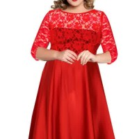 Dress Brokat/Lace Big Size Jumbo XXXXXXL Kode: 0912 Red