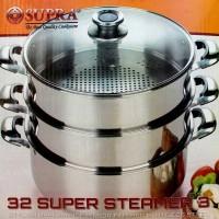 Panci Pengukus - 3 Susun - Supra Streamer 32 Cm - Stainless Steel