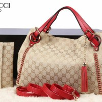 New Gucci Ebanis Canvas Combi Leather Set Dompet 2in1 (15057)