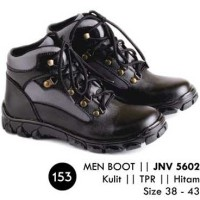 harga Sepatu Boots Pria Hitam Simple Leather JK Collection JNV 5602 Tokopedia.com