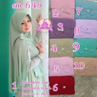 SM649A Jilbab Hijab Kerudung Khimar Instan Crepe Polos Belah Samping