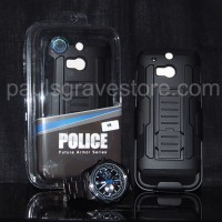 Hybrid Hardcase Softcase with Belt Clip Future Armor Impact HTC One M8