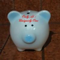 harga PIGGY BANK PORCELAIN / CELENGAN KERAMIK BABI LUCU - CUTE PIG BLUE NOSE Tokopedia.com