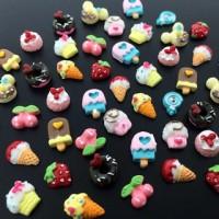 10pcs Nail deco 3D kawaii DIY nail art motif campur cupcake pita ice