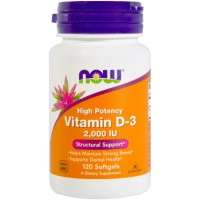 Now Foods, Vitamin D-3 ,2000 IU, 120 softgel