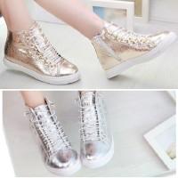 Sepatu sneakers kets korea glossy gold silver boot resleting import