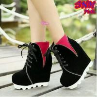 Wedges sepatu kets boot boots black hitam pink resleting murah keren